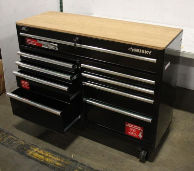 Husky 966340 52in 9 Drawer Mobile Workbench With Solid