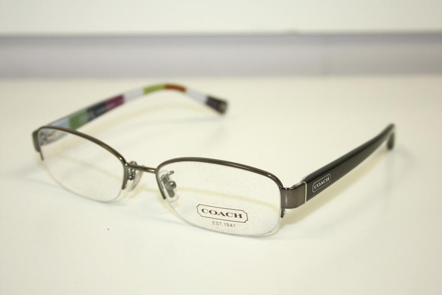 Coach Rimless Eyeglass Frames : Coach Bettie Dark Silver Striped Semi Rimless Womens ...