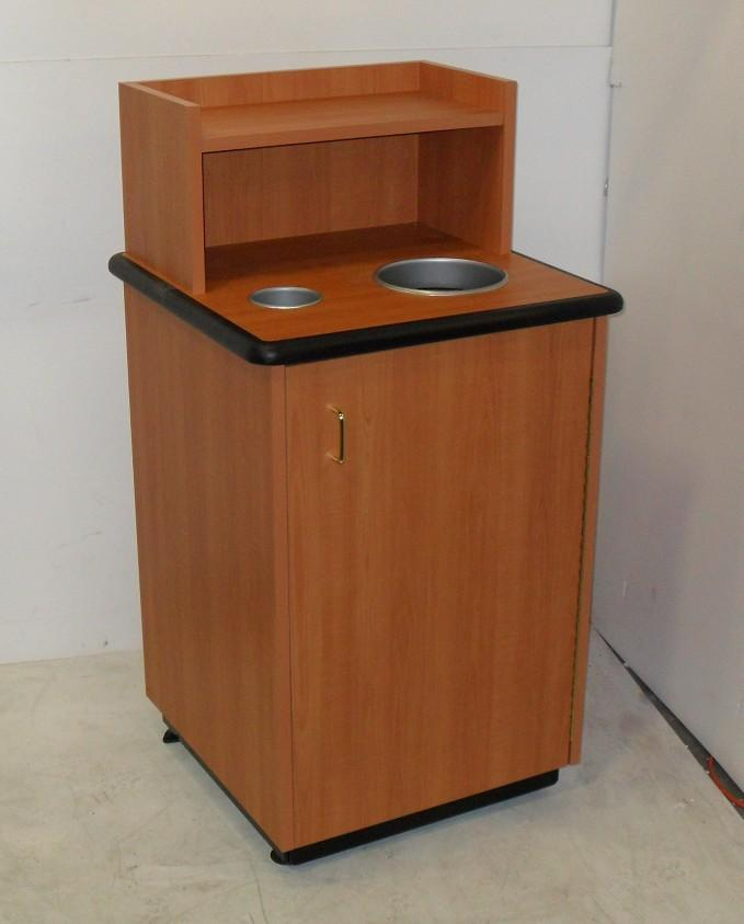plymold restaurant waste trash can recycle receptacle with wood cabinet. Black Bedroom Furniture Sets. Home Design Ideas
