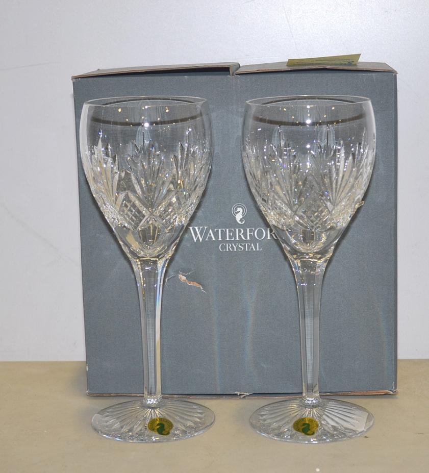 Waterford crystal 164108 kelley red wine glass lot of 2 ebay - Waterford colored wine glasses ...