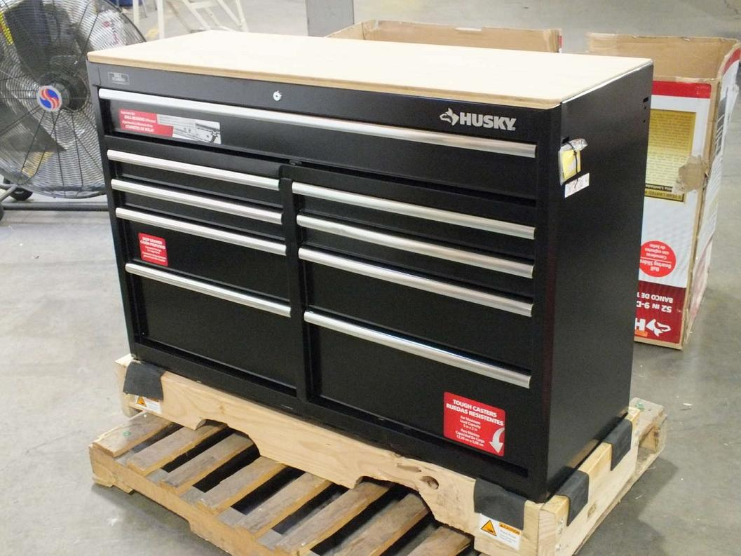Husky 52in 9 Drawer Mobile Workbench With Solid Wood Top
