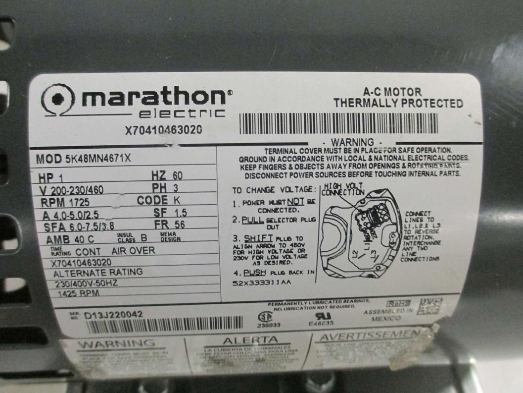 Marathon electric 5k48mn4671x a c motor 1 hp ebay for Marathon electric motors model numbers