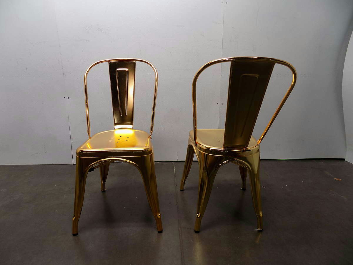 Zuo 2 Piece Elio Metal Dining Chairs Gold EBay