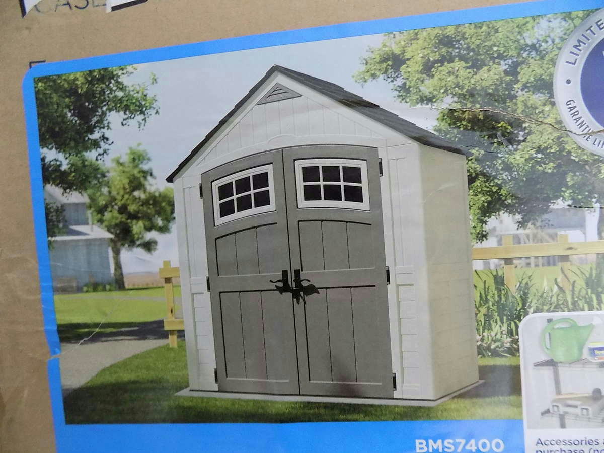Suncast bms7400 cascade 7x4 storage shed ebay for Garden shed 7x4