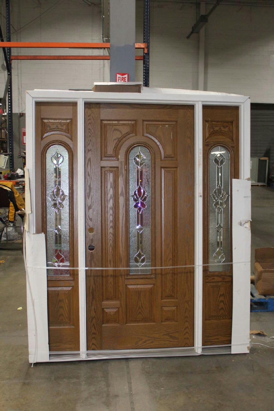 1600 #AD451E Feather River Door 68in. X 81.625 In Oak Fiberglass Prehung Door W  wallpaper Prehung Entry Doors 43251066