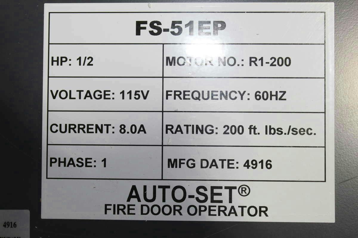 Model FS-51EP 1/2 Hp 115V 1 Ph Rating 200 ft. lbs. / sec.  sc 1 st  eBay & Mckeon Door Co Auto Set Fire Door Operator FS-51EP   eBay