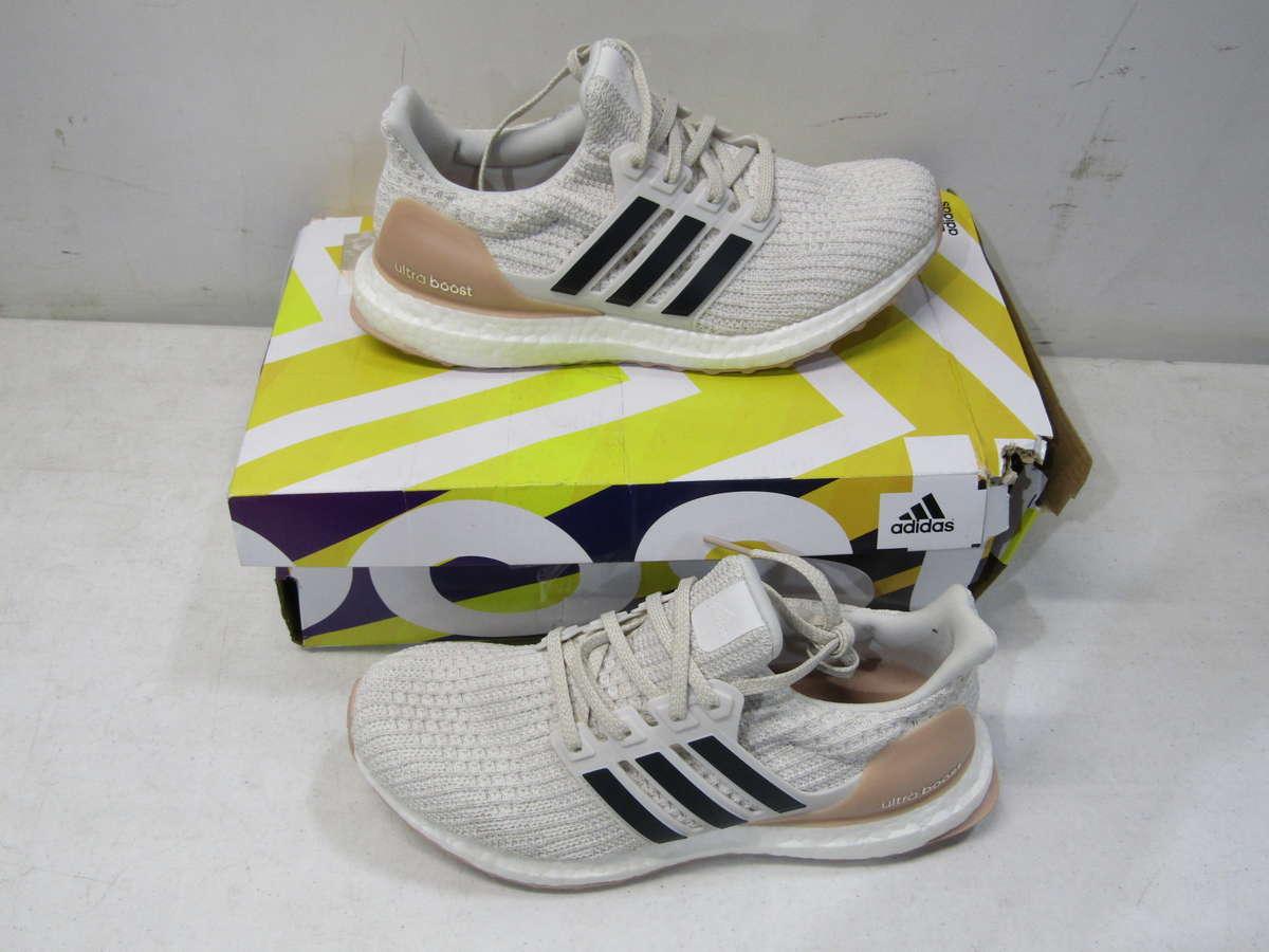 Adidas US Women's 7 Ultra Boost Running Shoe White Pink
