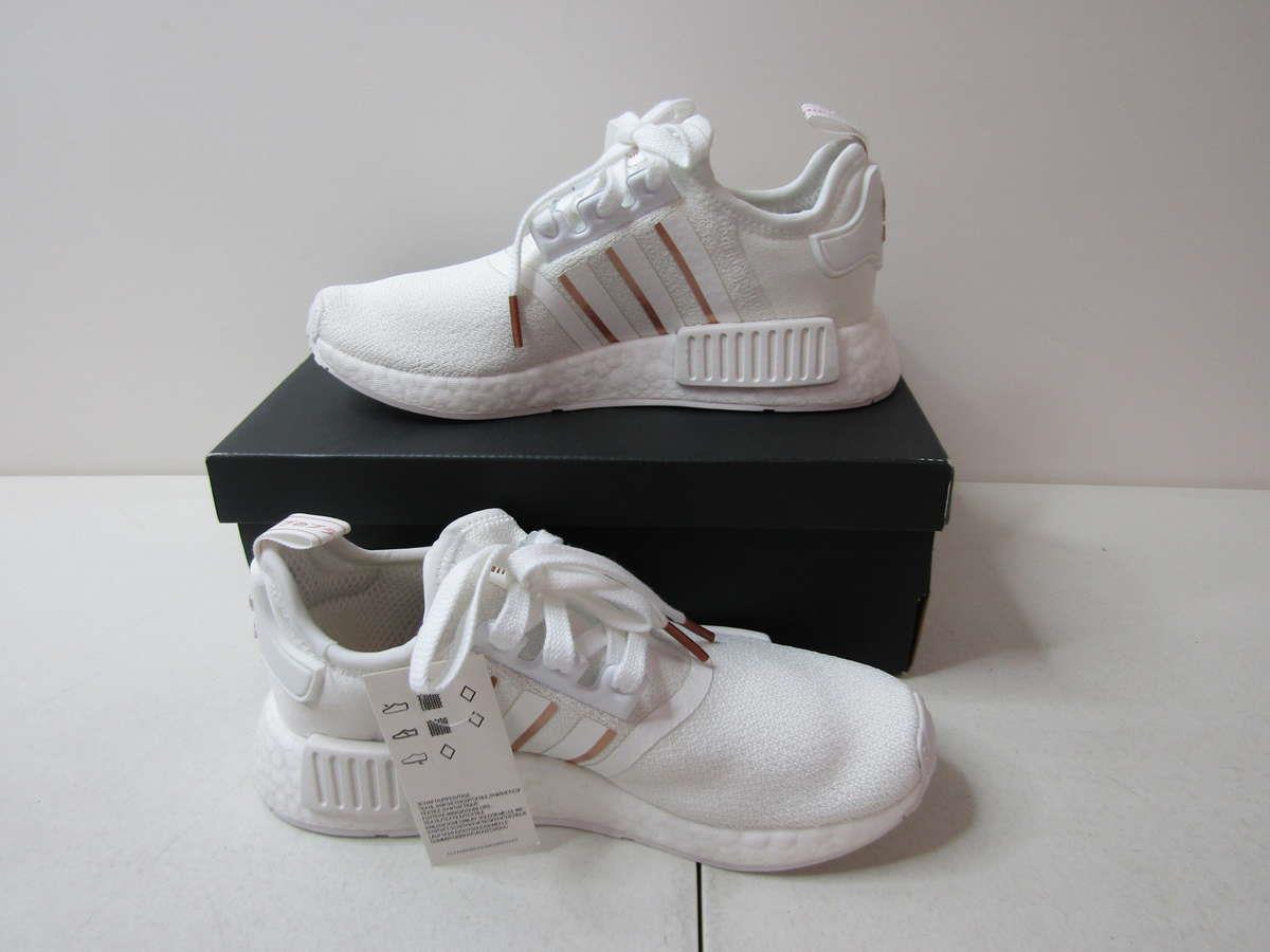 Adidas Women S 6 Nmd R1 Cloud White Rose Gold Metallic Crystal