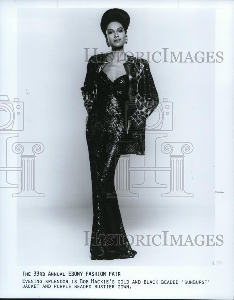 1990 Press Photo Model wears Bob Mackie gown at 33rd Annual Ebony ...