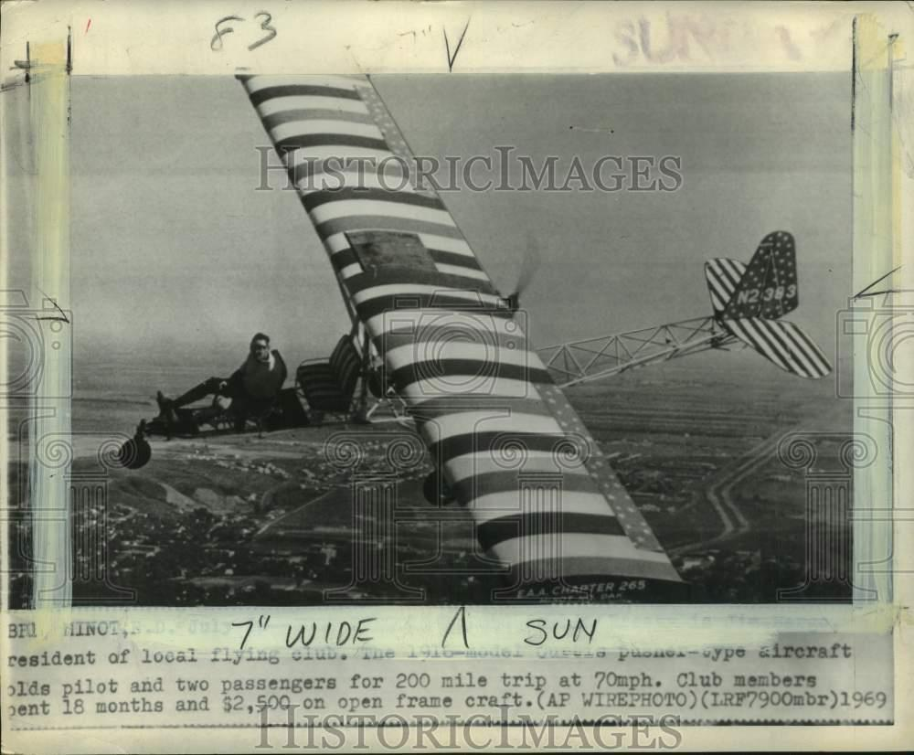 Details about 1969 Press Photo Flying club President Jim Bergo flying 1916  airplane, Minot, ND