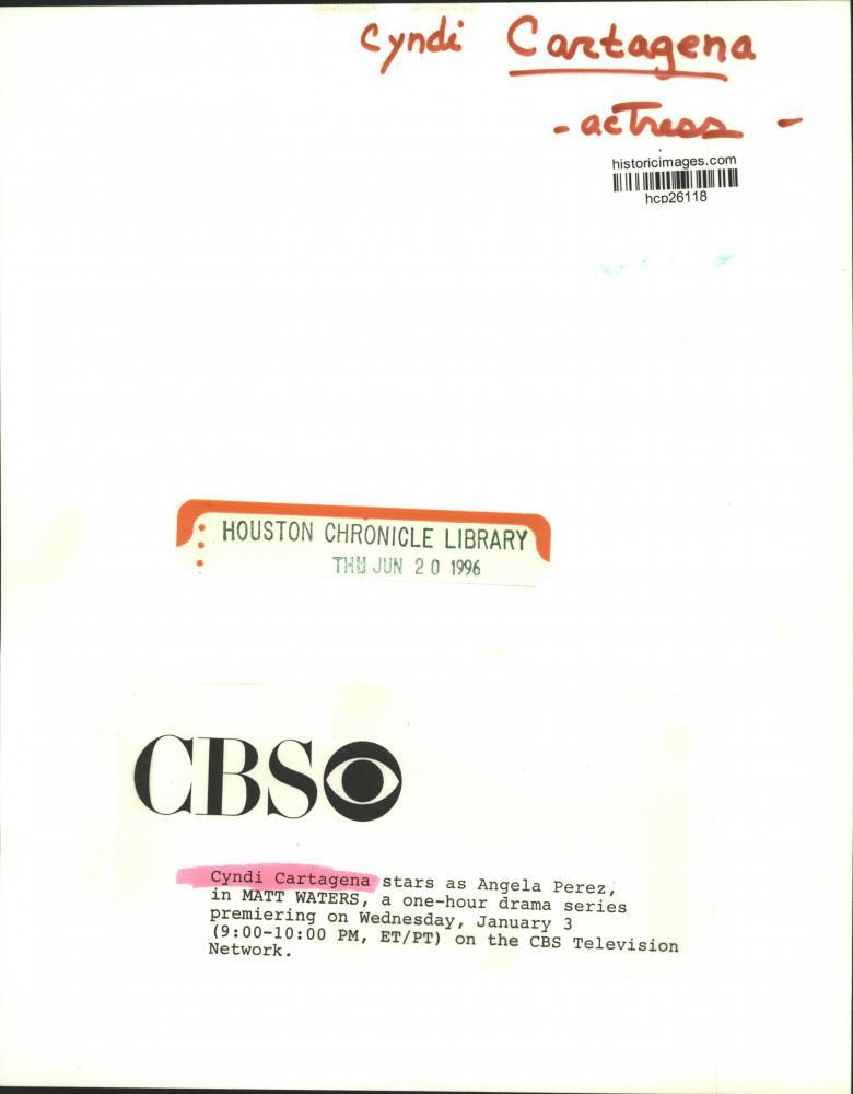 """1996 Press Photo Cyndi Cartagena Stars In """"Matt Waters"""" On"""