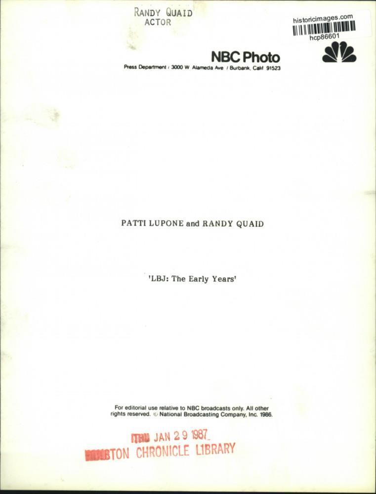"""Randy Quaid As Lbj: 1986 Press Photo Actor Randy Quaid, Patti LuPone In """"LBJ"""