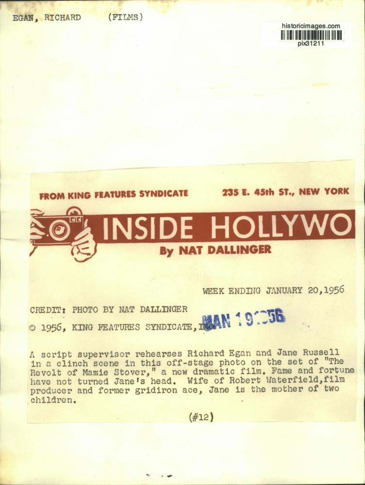 1956 Press Photo Script supervisor, actors Richard Egan