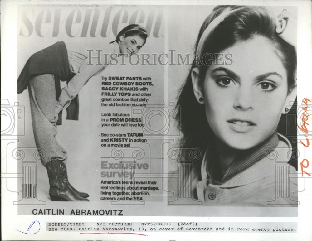 1980 press photo caitlin abramovitz model seventeen for Seventeen magazine cover template