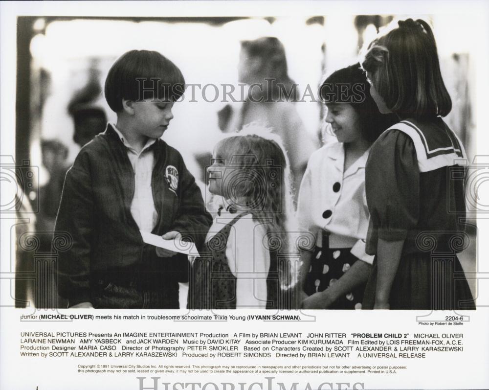 """1991 Press Photo Michael Oliver, Ivyann Schwan in """"Problem ..."""