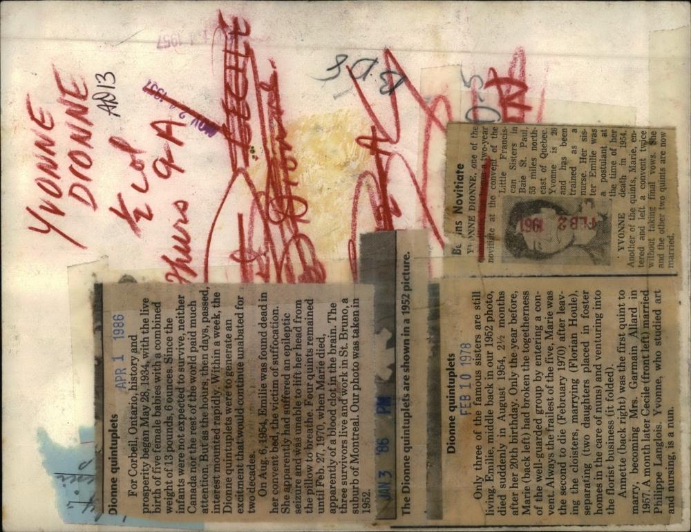 1954 Press Photo Death Emilie Dionne Quintuplets Cecile ...  1954 Press Phot...