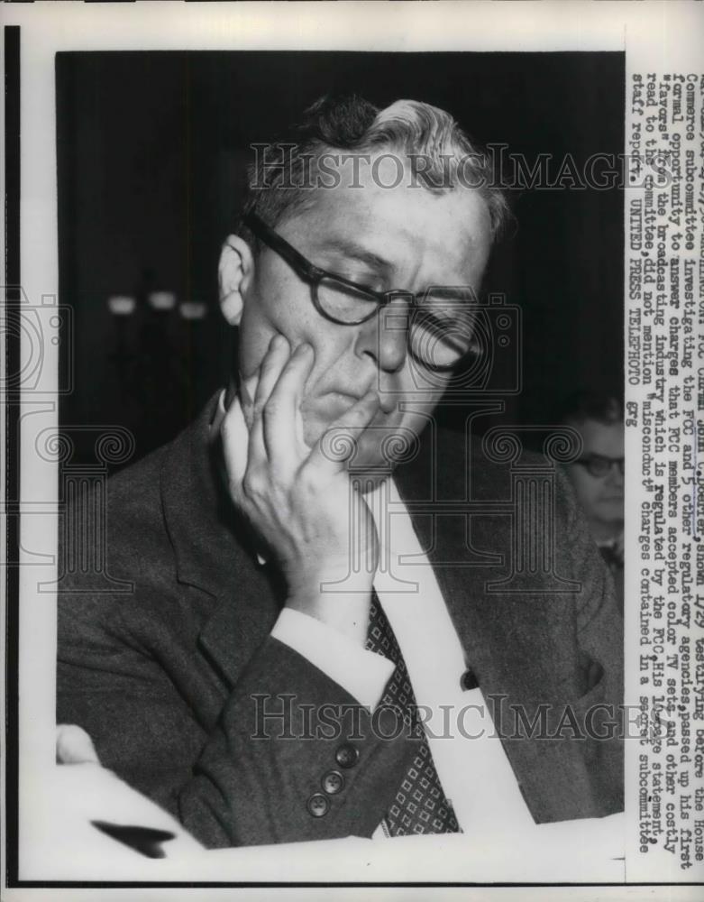 1958 Press Photo FCC Chairman John C. Doerfer testifying before House Commerce | eBay