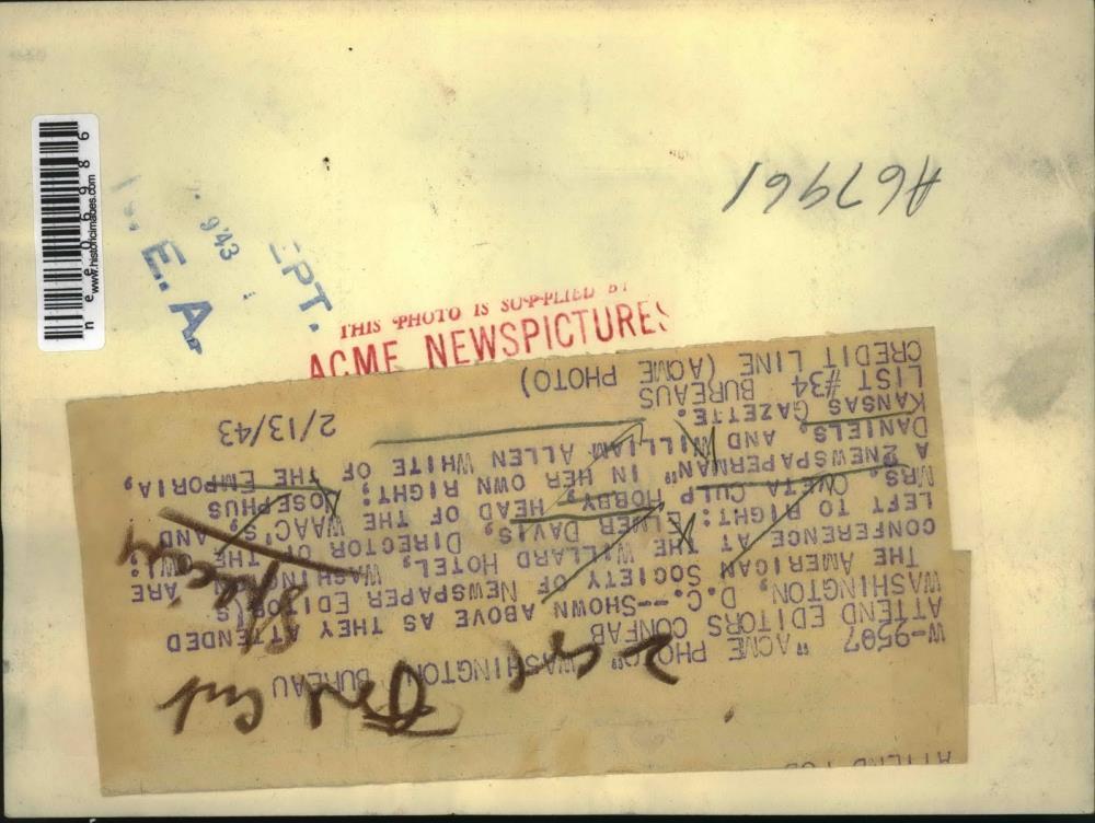 1943 Press Photo Wash DC News Editors Elmer Davis, Ovetta Culp, Joe Daniels