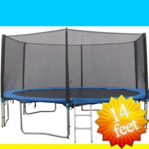 New 14ft Trampoline Combo Bounce Jump Safety Enclosure Net: Zupapa 14' FT Trampoline W/ Safety Net Enclosure Ladder
