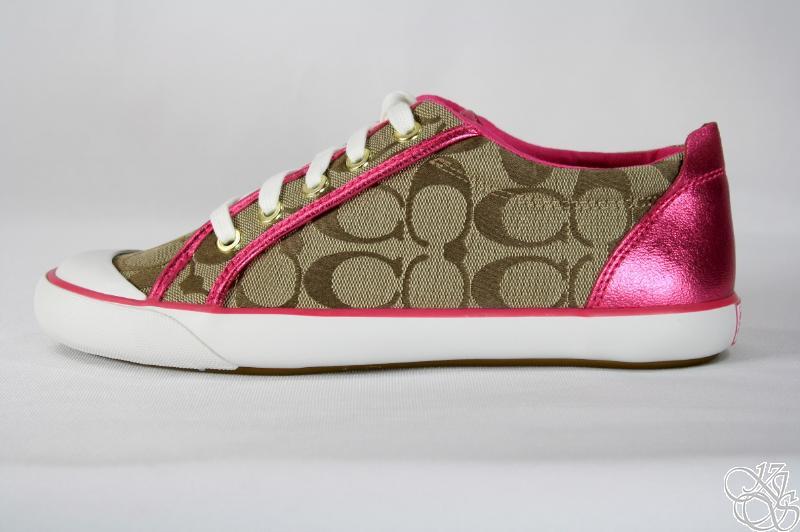 COACH Barrett Khaki / Hot Pink Signature Sneakers Shoes | eBay