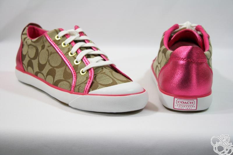 coach barrett khaki pink signature sneakers shoes ebay