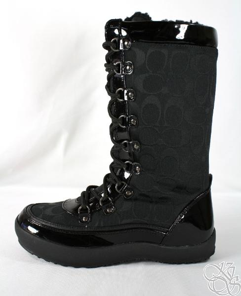 coach peggey black signature shearling new winter boots