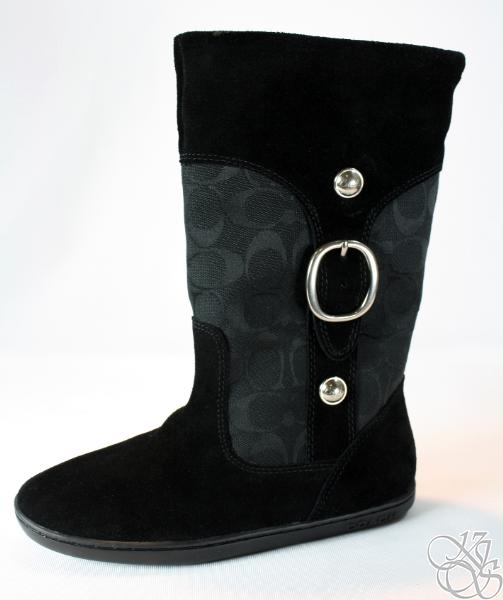 coach meyer black black signature suede sherling boots ebay