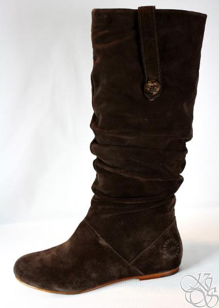 Ugg Highkoo Ii Slouchy Flat Suede Leather Brown Boots Ebay
