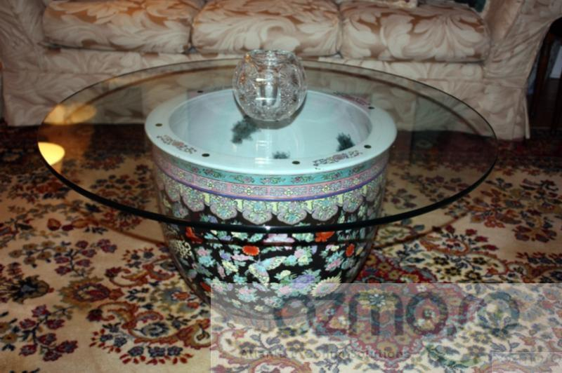 Vintage Chinese Fish Bowl Fishbowl Planter Elegant Asian Coffee Table Base Ebay