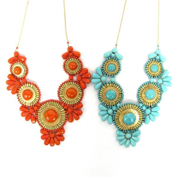 Zad-Gold-Tone-Metal-Bib-Necklace-XL-Pick-Turquoise-or-Orange-Beads-Medallion