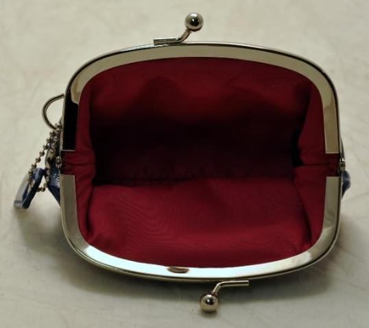 Details about Coach Blue Patent Leather Framed Kiss Lock Coin Purse