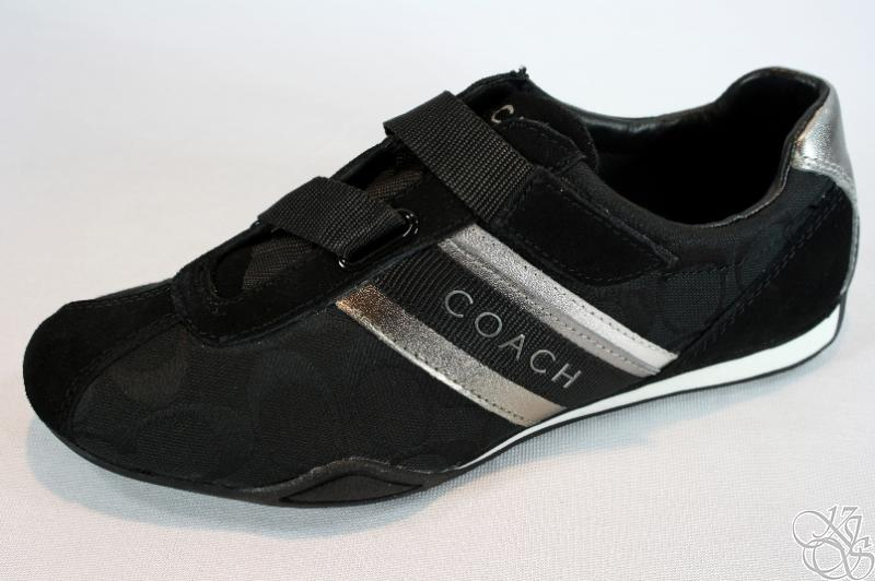 COACH Jenney 12CM SIG Suede Velcro Black Womens Sneakers ...