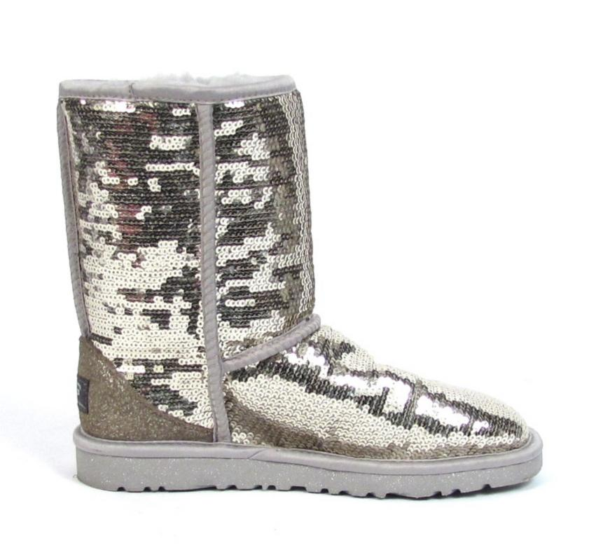 "Ugg Sequin Boots US 6 ""Eva"" Shiny Silver Shoes Sheepskin ..."