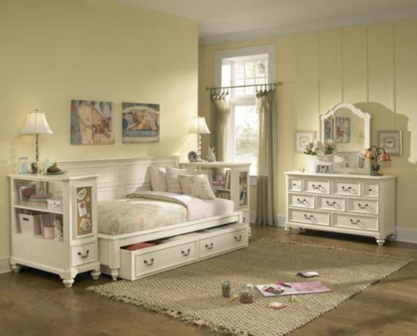 lea retreat bedroom set sideways bed night stand dresser mirror white