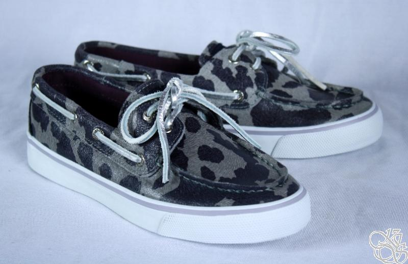Cheetah Sperry Boat Shoes Silver