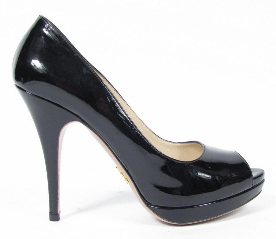 prada black patent leather open peep toe platform pumps high heels shoes sz 37 7 ebay. Black Bedroom Furniture Sets. Home Design Ideas