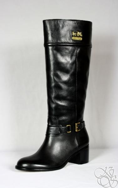 coach sapphire calf black leather womens boots new a7635