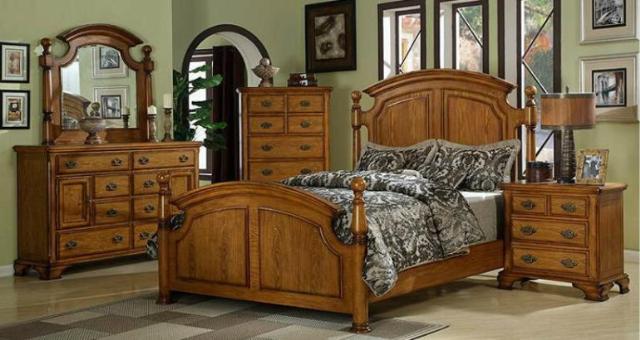 Vineyard Furniture 5 Pc Heartland Oak Low Poster Bed