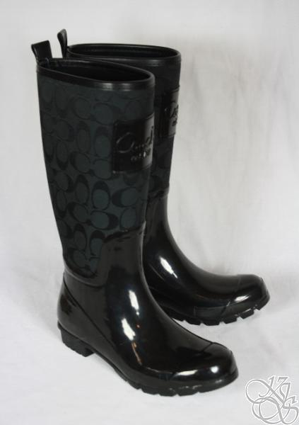 Coach Pearl 12cm Signature Black Shiny Rubber Rainboots
