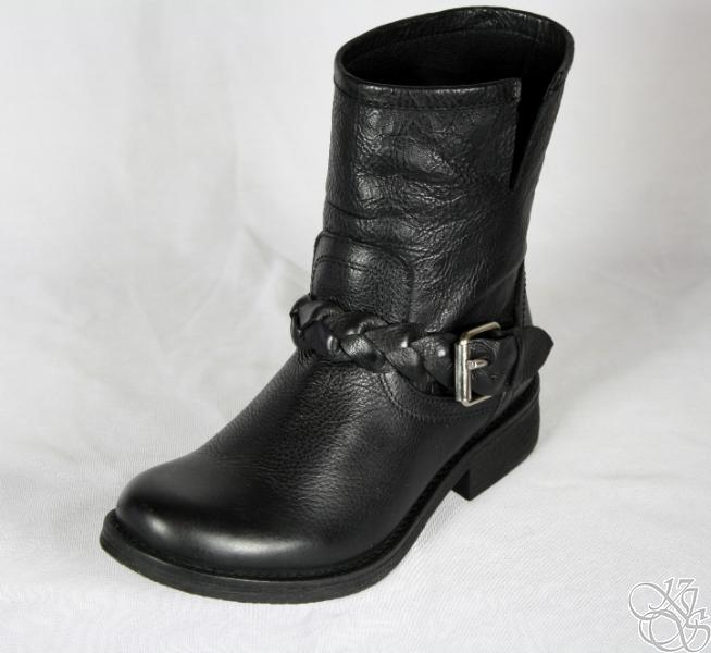 STEVE-MADDEN-Flaiir-Black-Leather-Braided-Buckle-Women-Boots-New-119
