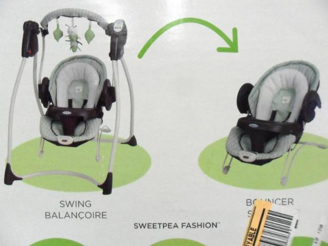 Graco Floor Swing: Graco Sprout 'n Grow Collection Sweet Pea 2-in-1 Swing And