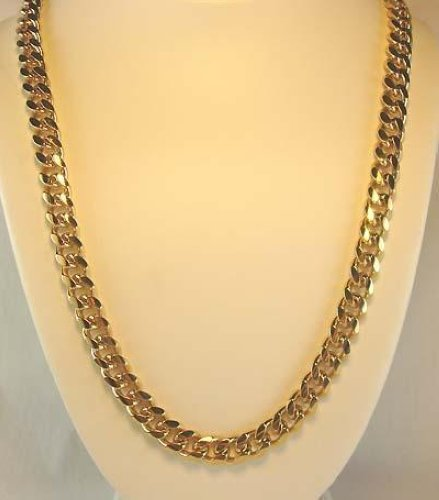 18-KT-Gold-Overlay-11-mm-Cuban-Curb-Link-Chain-Necklace-Lifetime-Warranty
