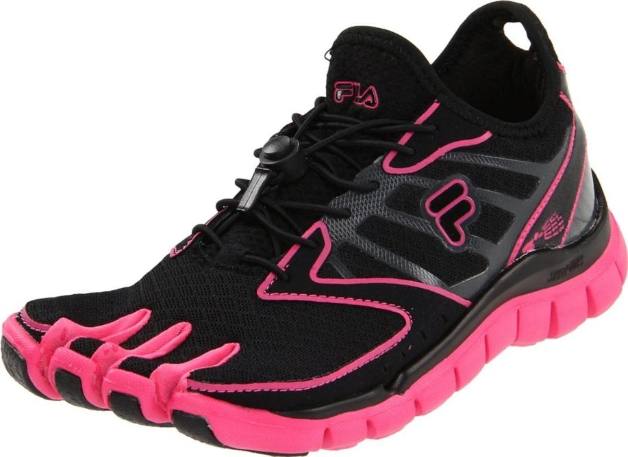 Details about Fila Skele-Toes AMP Womens Running Shoe Black / Hot Pink