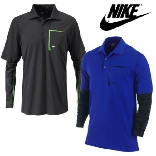 New nike long sleeve performance layer polo shirt blue or for Black and blue long sleeve shirt