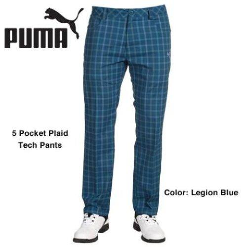 New-Mens-Puma-Golf-5-Pocket-Plaid-Tech-Pants-Legion-Blue