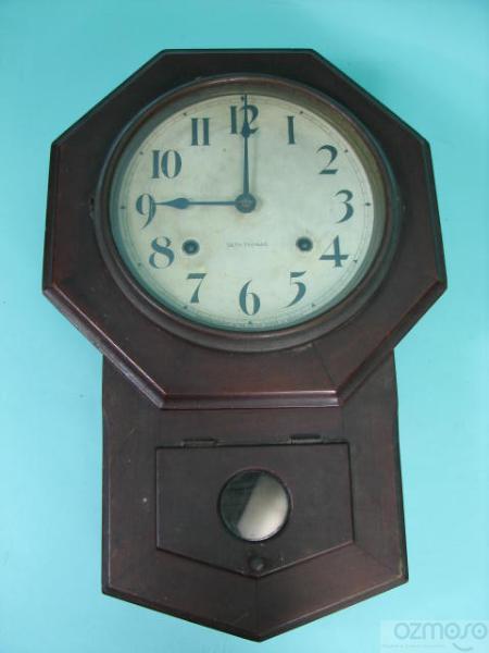 working antique seth thomas wood time strike wall clock w