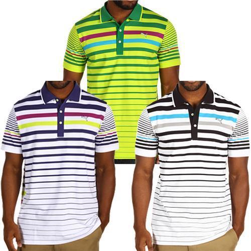 New-Puma-Variegated-Stripe-Polo-Shirt-3-colors-Blue-Ribbon-Lime-amp-Black
