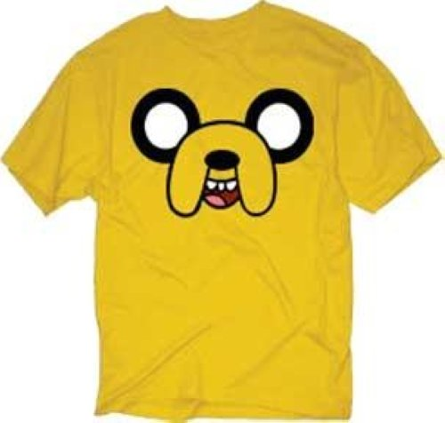 Adventure-Time-With-Finn-Jake-Face-Yellow-New-Licensed-Adult-T-Shirt-S-2XL