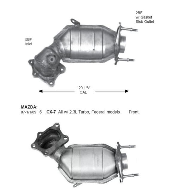 0701012009 Mazda Cx7 23l Federal Emis Front Catalytic Converter Rhebay: Mazda Catalytic Converter Location At Gmaili.net