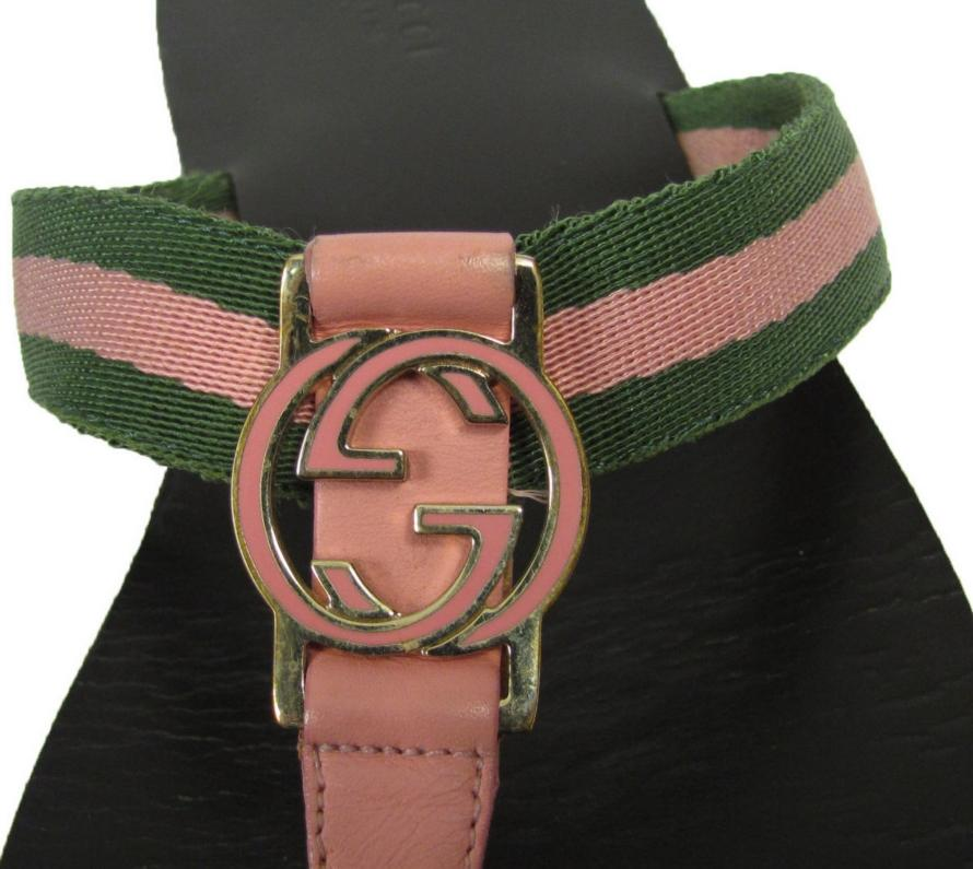 2 Pair Gucci Canvas Stripe Logo Flip Flops 9 Flat Thong